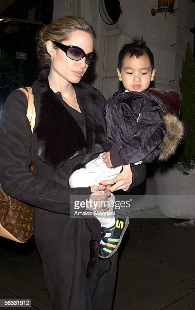 Angelina Jolie and her son Maddox leave lower Westside Whole Food store December 4 2005 in New York City