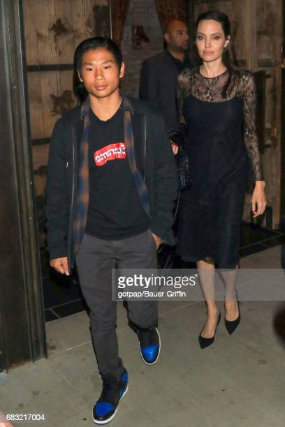 Angelina Jolie and her son Pax JoliePitt are seen on May 14 2017 in Los Angeles California