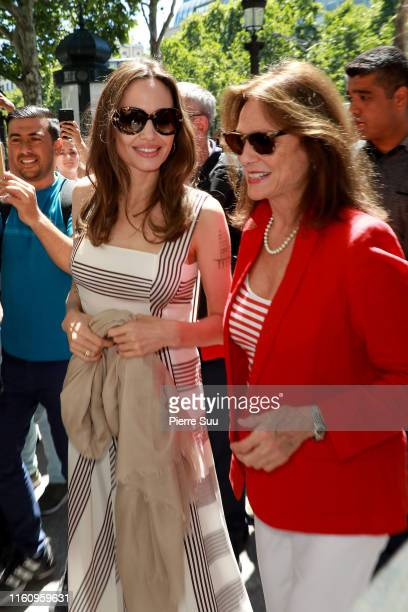 Angelina Jolie and Jacqueline Bisset are seen on the Champs Elysees on July 09 2019 in Paris France