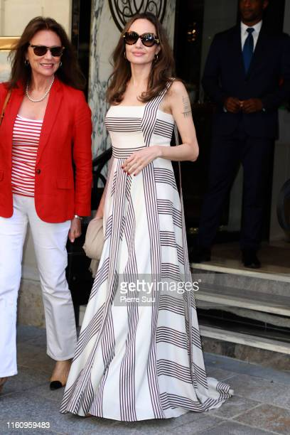 Angelina Jolie and Jacqueline Bisset are seen outside their Hotel on July 09, 2019 in Paris, France.