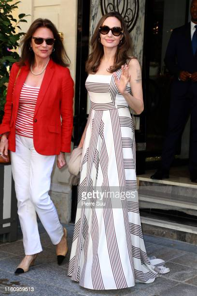Angelina Jolie and Jacqueline Bisset are seen outside their Hotel on July 09 2019 in Paris France