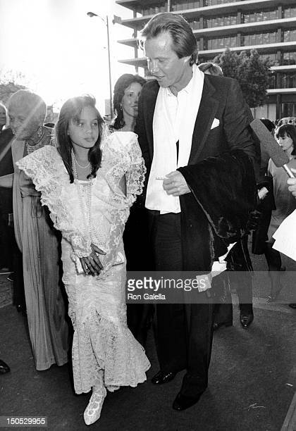 Angelina Jolie and Jon Voight attend 58th Annual Academy Awards on March 24 1986 at the Dorothy Changler Pavilion in Los Angeles California
