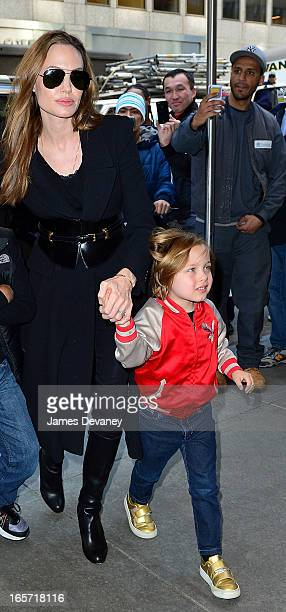 Angelina Jolie and Knox Jolie-Pitt visit FAO Schwarz on April 5, 2013 in New York City.