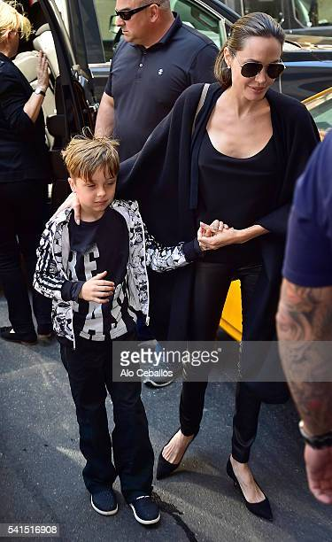 Angelina Jolie and Knox Leon JoliePitt are seen in Midtown on June 19 2016 in New York City
