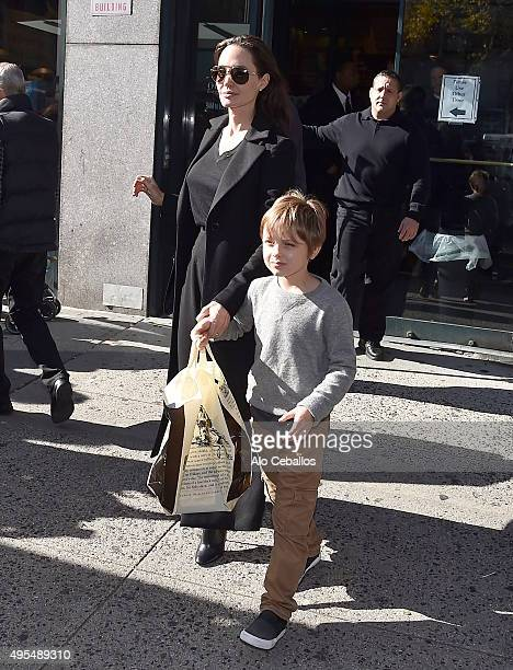 Angelina Jolie and Knox Leon JoliePitt are seen in the Upper West Side on November 3 2015 in New York City