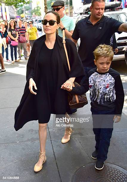 Angelina Jolie and Knox Leon JoliePitt are seen shopping in Midtown on June 18 2016 in New York City