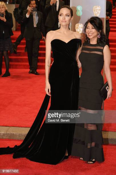 Angelina Jolie and Loung Ung attend the EE British Academy Film Awards held at Royal Albert Hall on February 18 2018 in London England
