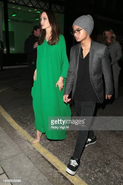 Angelina Jolie and Maddox Chivan Jolie-Pitt seen attending The Eternals - UK film premiere afterparty at Maison Estelle on October 27, 2021 in...