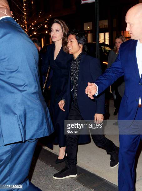 Angelina Jolie and Maddox JoliePitt attend a special screening of 'The Boy Who Harnessed the Wind' on February 25 2019 in New York City