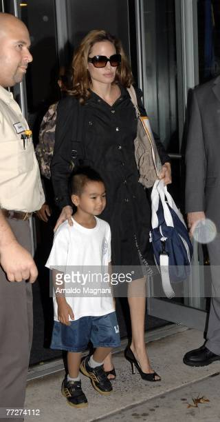 Angelina Jolie and son Maddox leave the private school Lycee Francais on the Upper East Side of Manhattan October 11 2007 in New York City