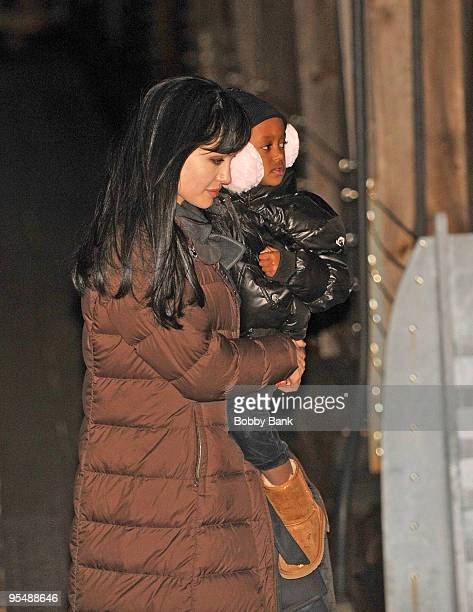 Angelina Jolie and Zahara JoliePitt is seen on location for Salt in Manhattan on December 29 2009 in New York City