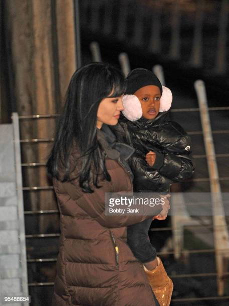 Angelina Jolie and Zahara JoliePitt is seen on location for Salt in Manhattan on December 29 2009 in New York City
