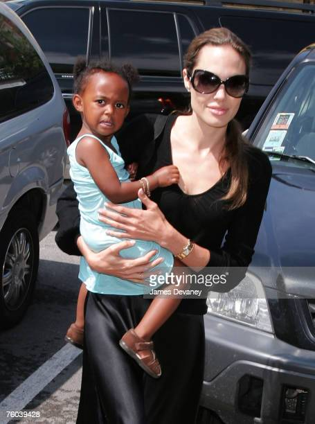 Angelina Jolie and Zahara visit Timeless Toys in Chicago on August 9 2007