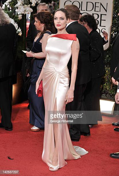 Angelina Jolie arrive at the 69th Annual Golden Globe Awards at The Beverly Hilton hotel on January 15 2012 in Beverly Hills California