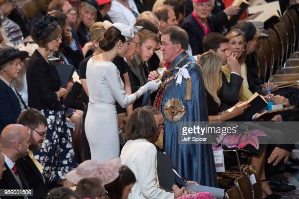 Angelina Jolie arrives ahead of the Service of Commemoration and Dedication marking the 200th anniversary of the Most Distinguished Order of St...