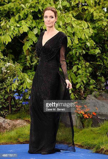 "Angelina Jolie arrives at a private reception as costumes and props from Disney's ""Maleficent"" are exhibited in support of Great Ormond Street..."