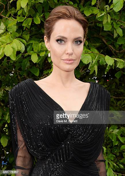 """Angelina Jolie arrives at a private reception as costumes and props from Disney's """"Maleficent"""" are exhibited in support of Great Ormond Street..."""