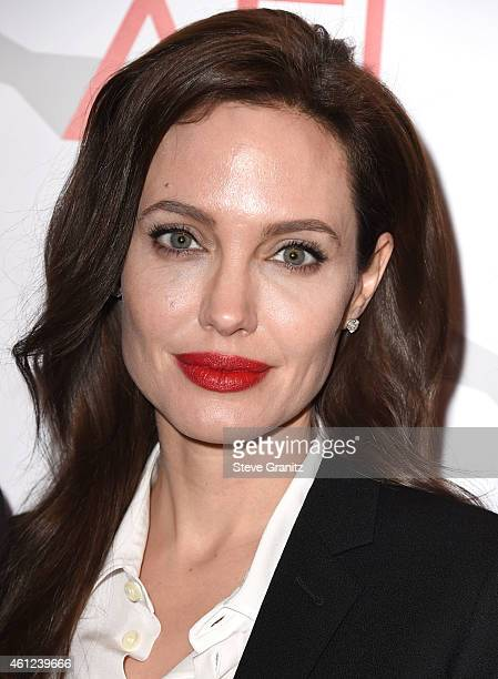 Angelina Jolie arrives at the 15th Annual AFI Awards at Four Seasons Hotel Los Angeles at Beverly Hills on January 9 2015 in Beverly Hills California