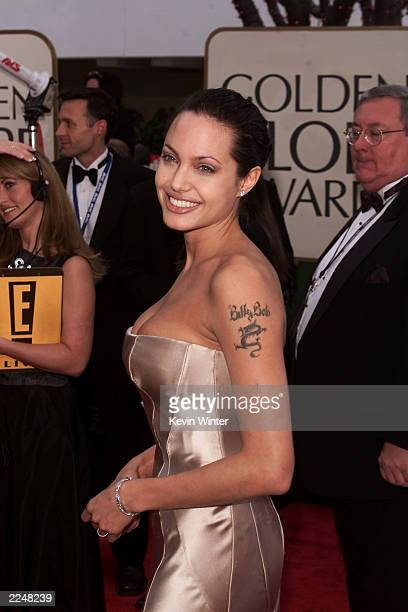 Angelina Jolie arrives at the 58th Annual Golden Globe Awards at the Beverly Hilton in Los Angeles CA Sunday Jan 21 2001
