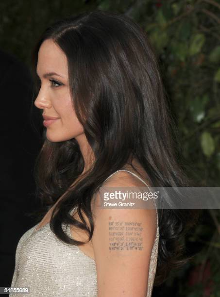 Angelina Jolie arrives at The 66th Annual Golden Globe Awards at The Beverly Hilton Hotel on January 11 2009 in Hollywood California