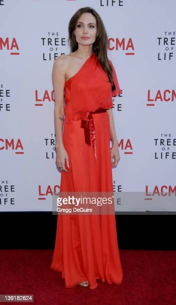 """Angelina Jolie arrives at the Los Angeles Premiere of """"The Tree Of Life"""" held at the Bing Theatre at LACMA on May 24, 2011 in Los Angeles, California."""
