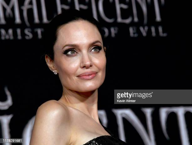 """Angelina Jolie arrives at the premiere of Disney's """"Maleficent: Mistress Of Evil"""" at the El Capitan Theatre on September 30, 2019 in Los Angeles,..."""