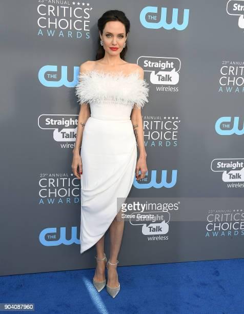 Angelina Jolie arrives at the The 23rd Annual Critics' Choice Awards at Barker Hangar on January 11 2018 in Santa Monica California