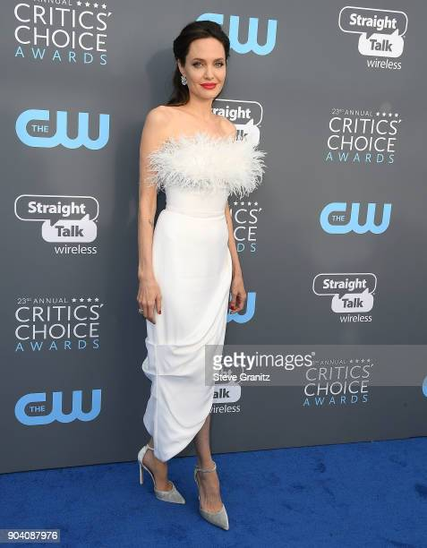 Angelina Jolie arrives at the The 23rd Annual Critics' Choice Awards at Barker Hangar on January 11 2018 in Santa Monica California