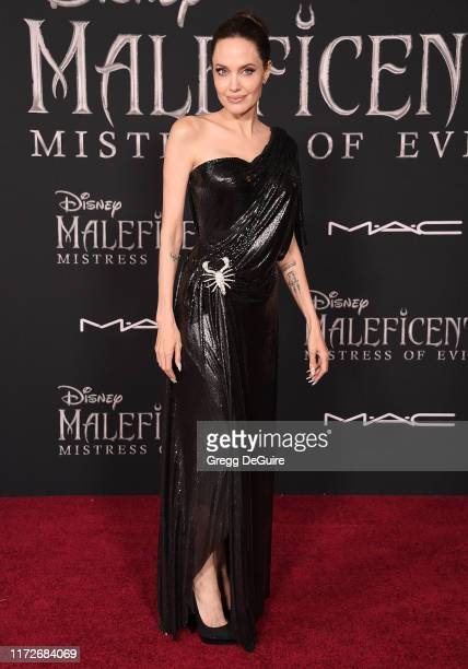 """Angelina Jolie arrives at the World Premiere Of Disney's """"Maleficent: Mistress Of Evil"""" at El Capitan Theatre on September 30, 2019 in Los Angeles,..."""