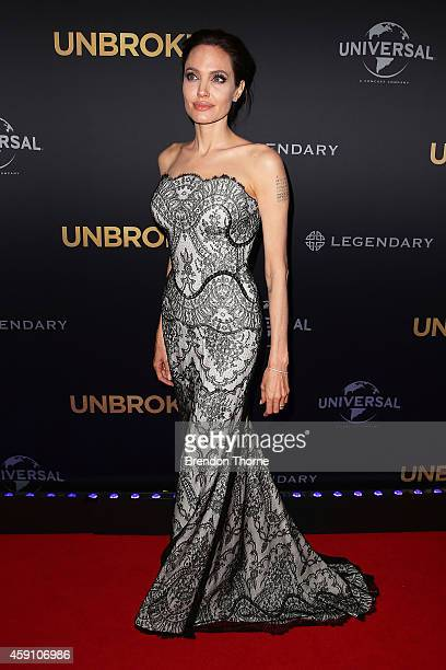 Angelina Jolie arrives at the world premiere of Unbroken at the State Theatre on November 17 2014 in Sydney Australia