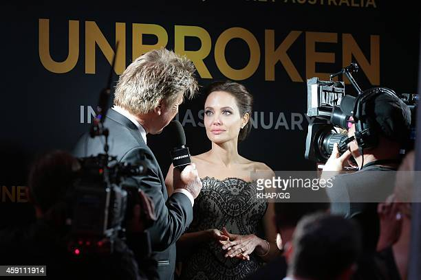 "Angelina Jolie arrives to the world premiere of ""Unbroken"" on November 17, 2014 in Sydney, Australia."