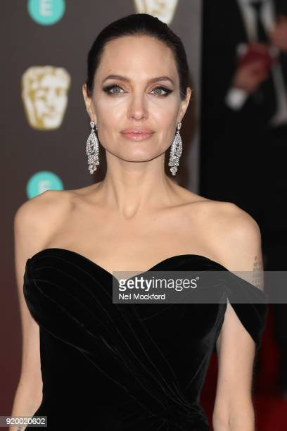 Angelina Jolie arriving at the EE British Academy Film Awards at the Royal Albert Hall on February 18 2018 in London England