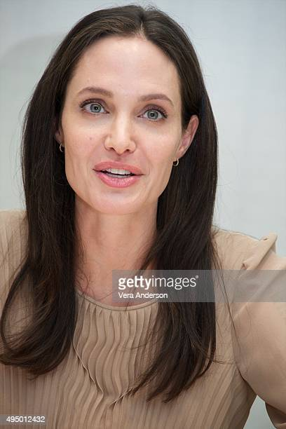 Angelina Jolie at the 'By The Sea' Press Conference at the Four Seasons Hotel on October 30 2015 in Beverly Hills California