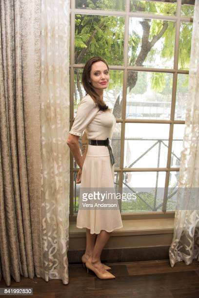 "Angelina Jolie at the ""First They Killed My Father"" Press Conference at the Four Seasons Hotel on August 25, 2017 in Beverly Hills, California."
