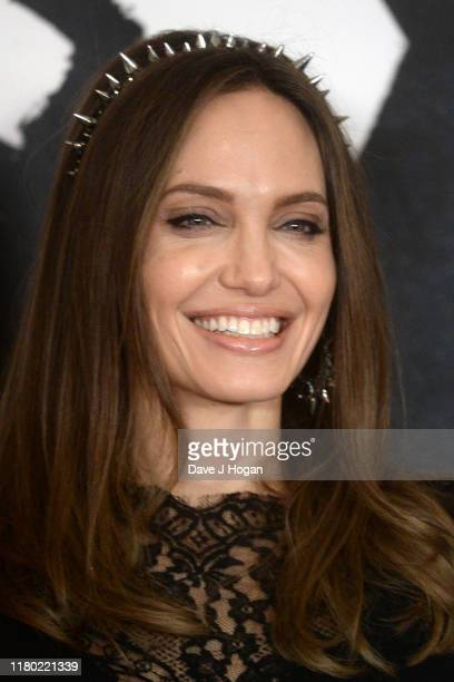 "Angelina Jolie attenda a photocall for ""Maleficent: Mistress of Evil"" at Mandarin Oriental Hotel on October 10, 2019 in London, England."