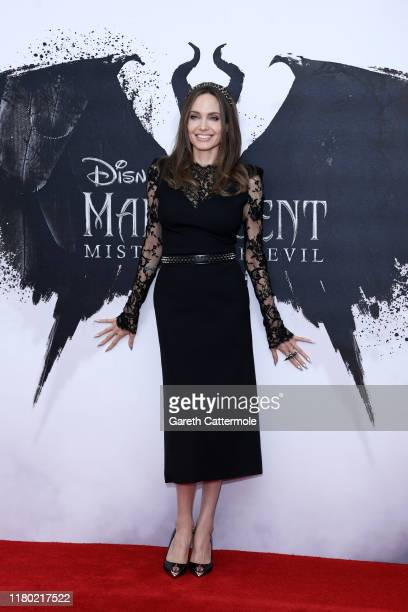 "Angelina Jolie attends a photocall for ""Maleficent: Mistress of Evil"" at Mandarin Oriental Hotel on October 10, 2019 in London, England."