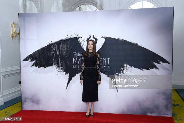 """Angelina Jolie attends a photocall for """"Maleficent: Mistress of Evil"""" at Mandarin Oriental Hotel on October 10, 2019 in London, England."""