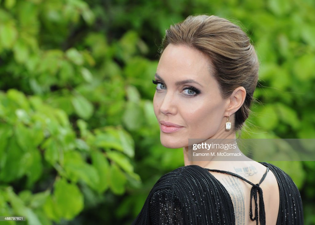Angelina Jolie attends a private reception as costumes and props from Disney's 'Maleficent' are exhibited in support of Great Ormond Street Hospital at Kensington Palace on May 8, 2014 in London, England.