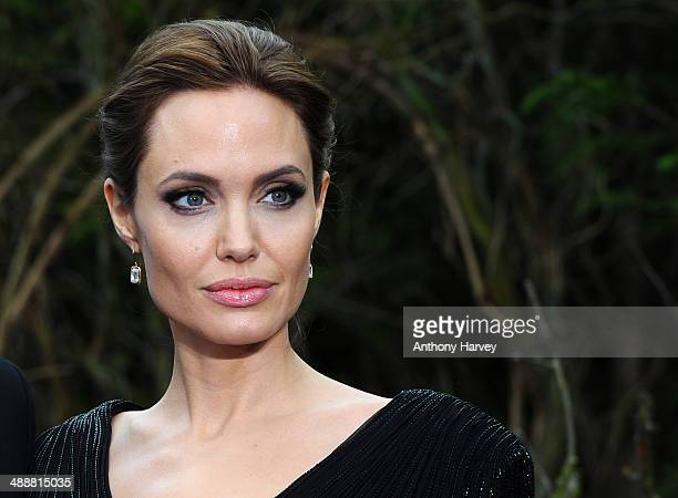 Angelina Jolie attends a private reception as costumes and props from Disney's Maleficent are exhibited in support of Great Ormond Street Hospital at...