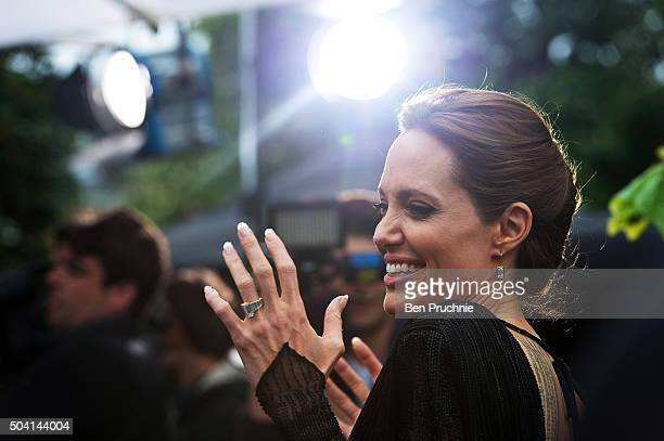 "Angelina Jolie attends a private reception as costumes and props from Disney's ""Maleficent"" are exhibited in support of Great Ormond Street Hospital..."