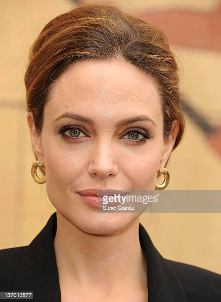 Angelina Jolie attends the 2012 Golden Globe Foreign Language Film Panel Discussion at the Egyptian Theatre on January 14, 2012 in Hollywood,...