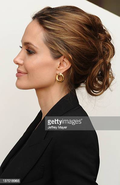 Angelina Jolie attends the 2012 Golden Globe Foreign Language Film Panel Discussion at the Egyptian Theatre on January 14 2012 in Hollywood California