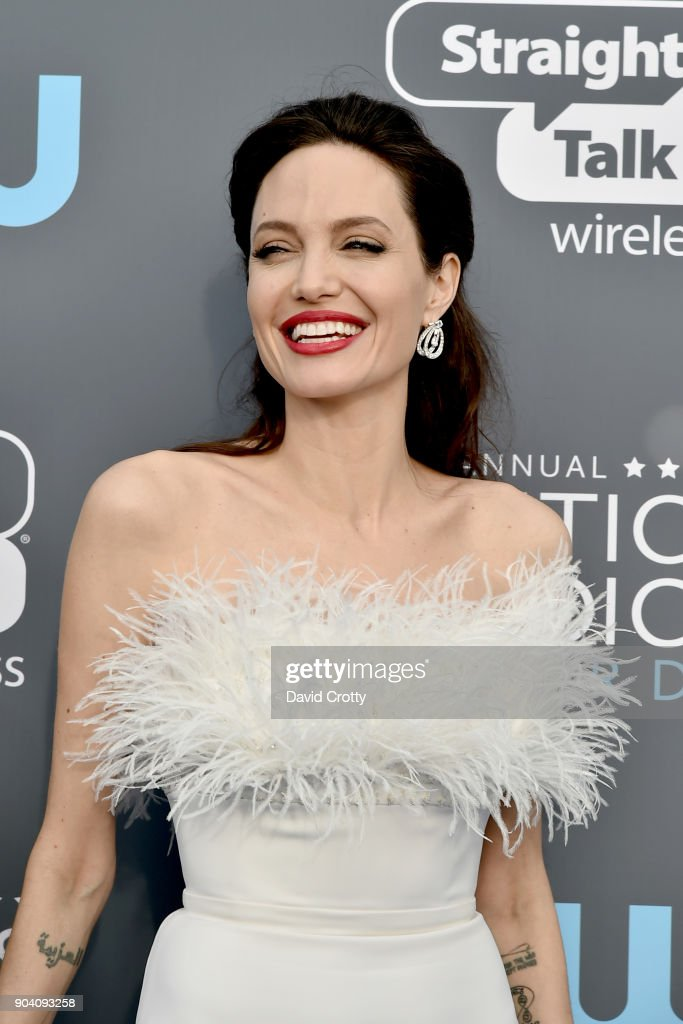 Angelina Jolie attends The 23rd Annual Critics' Choice Awards - Arrivals at The Barker Hanger on January 11, 2018 in Santa Monica, California.