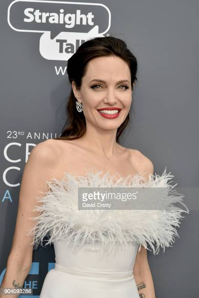 Angelina Jolie attends The 23rd Annual Critics' Choice Awards Arrivals at The Barker Hanger on January 11 2018 in Santa Monica California