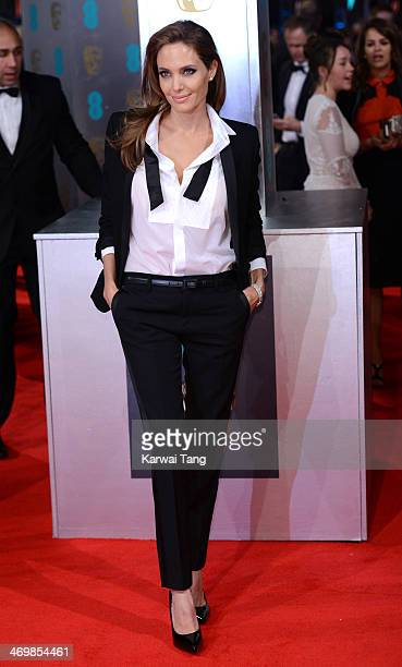 Angelina Jolie attends the EE British Academy Film Awards 2014 at The Royal Opera House on February 16 2014 in London England