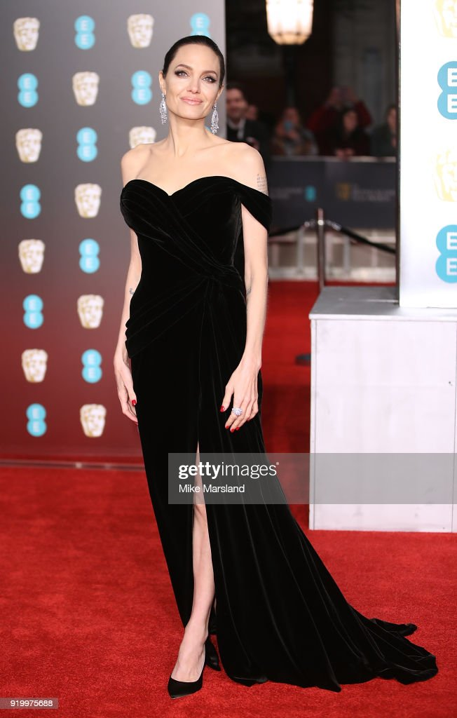 Angelina Jolie attends the EE British Academy Film Awards (BAFTAs) held at Royal Albert Hall on February 18, 2018 in London, England.