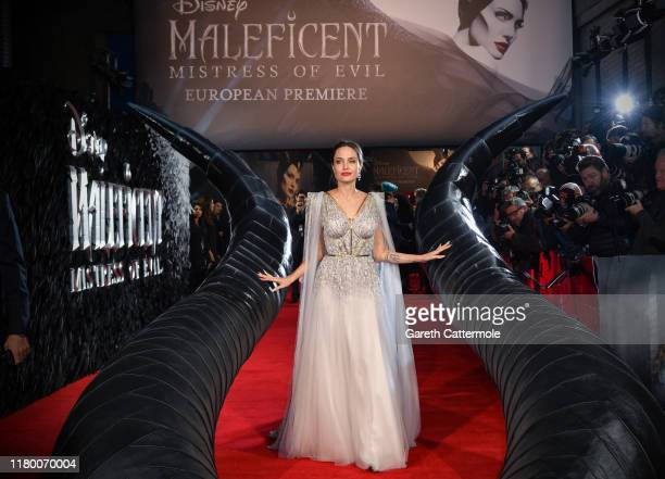 """Angelina Jolie attends the European Premiere of Disney's """"Maleficent: Mistress of Evil"""" at Odeon IMAX Waterloo on October 09, 2019 in London, England."""