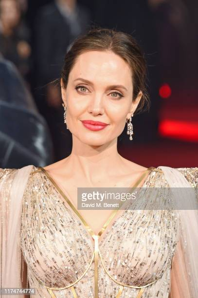 Angelina Jolie attends the European Premiere of Maleficent Mistress Of Evil at the Odeon IMAX Waterloo on October 09 2019 in London England