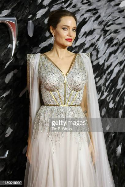 "Angelina Jolie attends the European premiere of ""Maleficent: Mistress of Evil"" at Odeon IMAX Waterloo on October 09, 2019 in London, England."