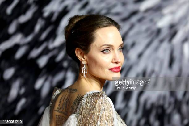 """Angelina Jolie attends the European premiere of """"Maleficent: Mistress of Evil"""" at Odeon IMAX Waterloo on October 09, 2019 in London, England."""